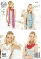 King Cole Opium Knitting Pattern - 3685 Scarf, Snoods, Poncho & Wrap